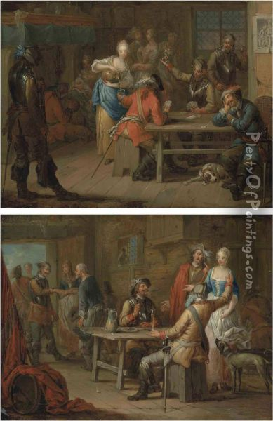 Soldiers Playing Cards In An Inn; And Soldiers Merrymaking In Aninn Oil Painting - Franz Christoph Janneck