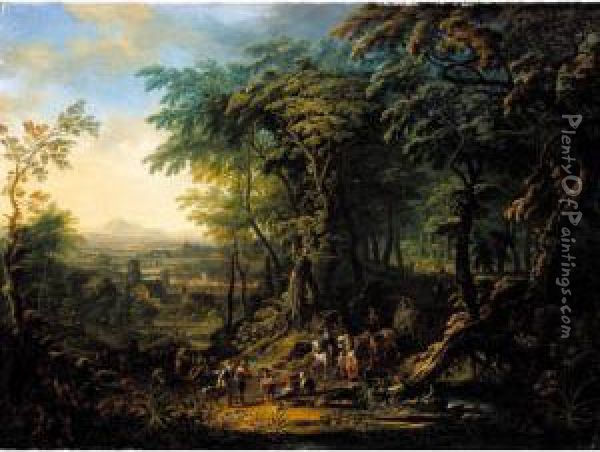 Travellers On A Forest Road Overlooking A City, A Distant Landscape Beyond Oil Painting - Franz Christoph Janneck