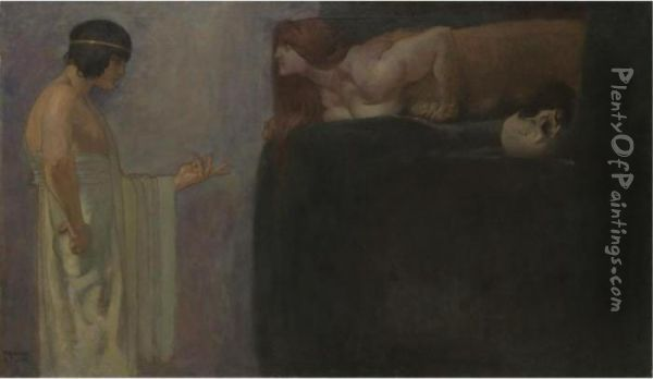 Odipus Lost Das Ratsel Der Sphinx (oedipus Solves The Riddle Of The Sphinx) Oil Painting - Franz von Stuck