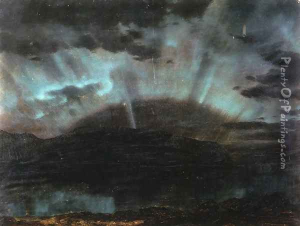 Aurora Borealis, Mt. Desert Island, from Bar Harbor, Maine Oil Painting - Frederic Edwin Church
