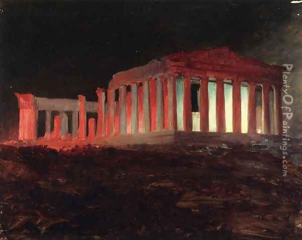 Parthenon, Athens, from the Northwest (Illuminated Night View) Oil Painting - Frederic Edwin Church