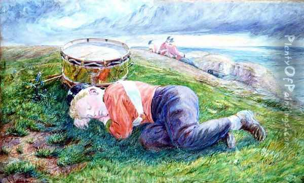 Sketch for The Drummer Boys Dream Oil Painting - Frederic James Shields