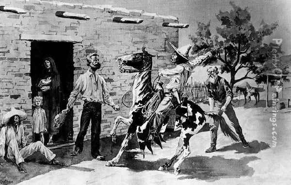 Remington's original wash drawing for the Harper's Weekly illustration 'The Apaches Are Coming'. Frederic R Oil Painting - Frederic Remington