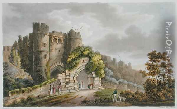 Carisbrook Castle, from 'The Isle of Wight Illustrated, in a Series of Coloured Views' Oil Painting - Frederick Calvert