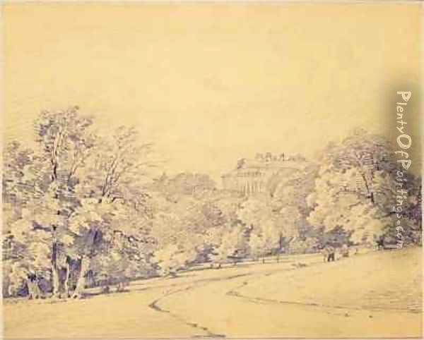 Harewood House from the South East Oil Painting - Frederick George Cotman