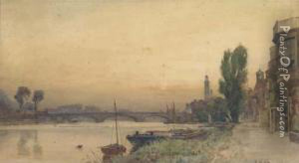 Houses On The Riverbank At Strand On The Green Oil Painting - Frederick George Cotman