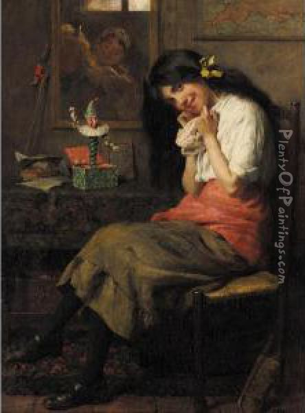 Jack In The Box Oil Painting - Frederick George Cotman
