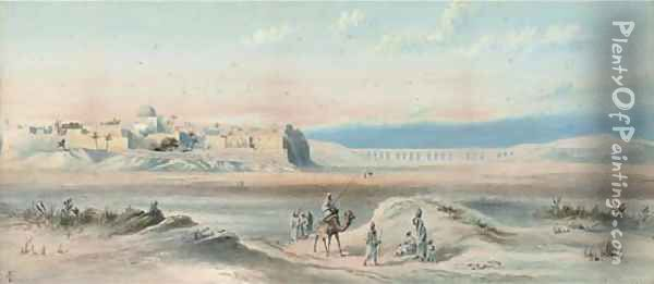 Arab travellers at sunset, a town beyond Oil Painting - Frederick Goodall