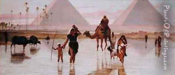 Arabs Crossing a Flooded Field by the Pyramids Oil Painting - Frederick Goodall