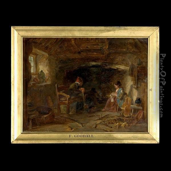 Cottage Interior With Figures. Oil Painting - Frederick Goodall