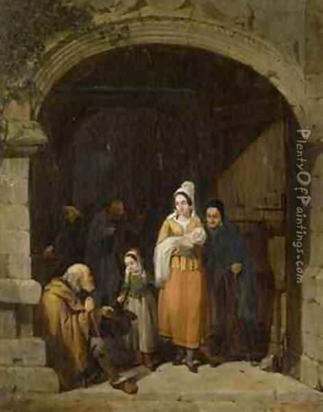 Leaving a Church Brittany Oil Painting - Frederick Goodall