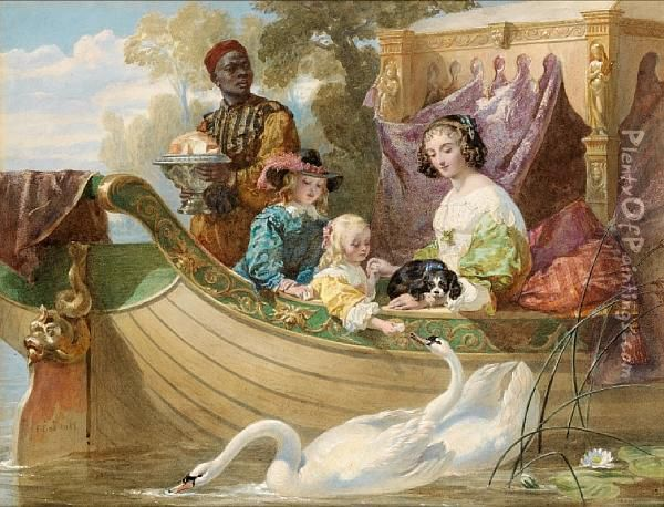 Queen Henrietta Maria And Her Children On The River Oil Painting - Frederick Goodall