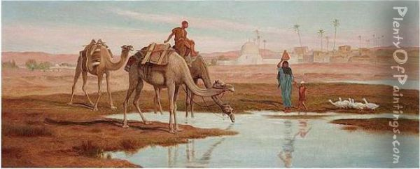 Travellers By The Nile Oil Painting - Frederick Goodall