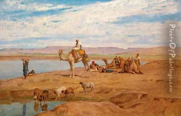 Waiting for the Dahabeyah on the banks of the Nile Oil Painting - Frederick Goodall