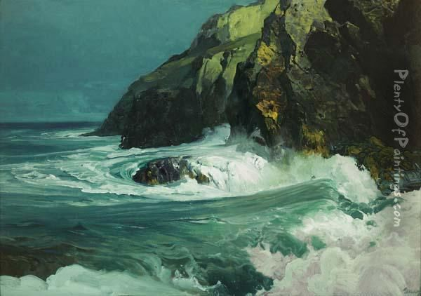Breaking Waves Along A Rocky Coast Oil Painting - Frederick Judd Waugh