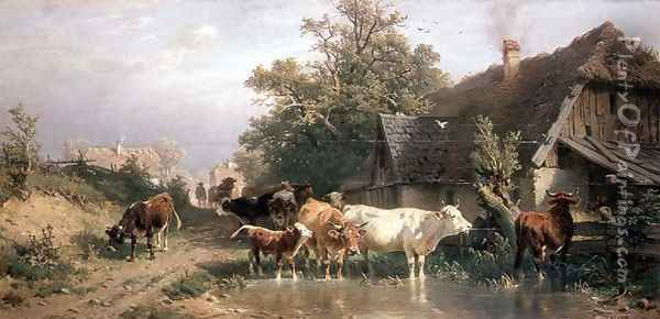 Cattle watering at a pond Oil Painting - Friedrich Johann Voltz