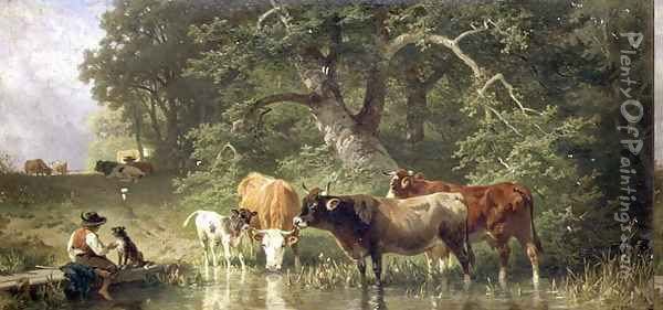 Cattle watering at a woodland pond, 1881 Oil Painting - Friedrich Johann Voltz