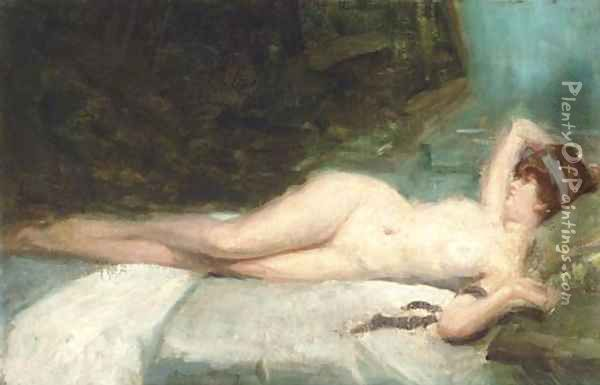 Reclining nude Oil Painting - G. Vincent Anglade