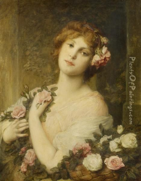 Portrait Of A Girl With Flowers Oil Painting - Gabriel Cornelius Von Max