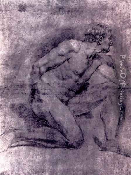 An Academic Study Of A Seated Male Nude (verso) Oil Painting - Gabriel Francois Doyen
