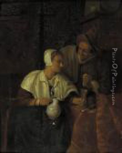 A Woman Seated By A Table Pouring Wine For A Man, In An Interior Oil Painting - Gabriel Metsu