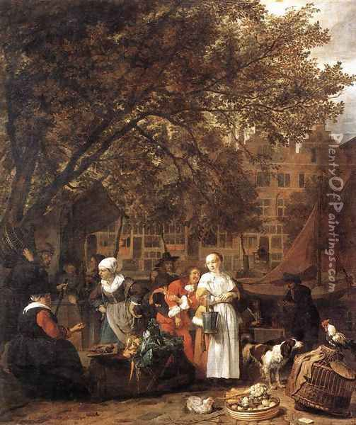 Vegetable Market in Amsterdam 1661-62 Oil Painting - Gabriel Metsu