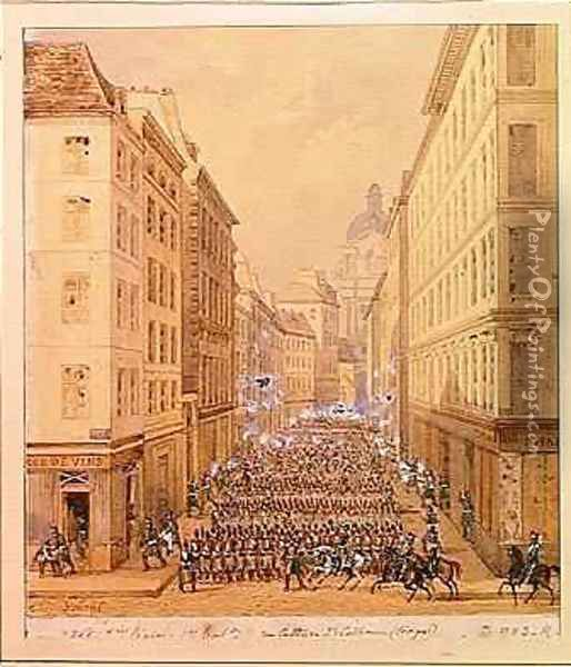 March of the First Battalion Rue Culture Sainte Catherine Oil Painting - Gaspard Gobaut