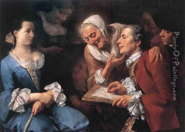 The Sitting 1754 Oil Painting - Gaspare Traversi