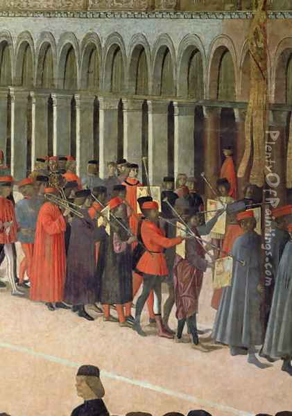 Musicians, detail from the Procession of the Cross in St. Mark's Square, 1496 Oil Painting - Gentile Bellini