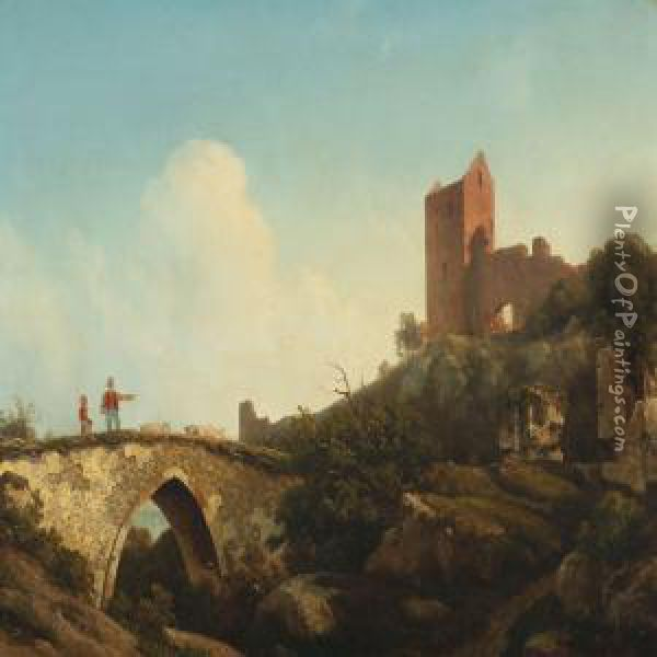 Scenery From Theruined Castle Hammershus, Bornholm Oil Painting - Georg Emil Libert