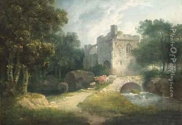 A drover with cattle crossing a bridge before a ruin Oil Painting - George Arnald