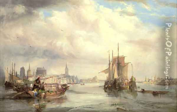 Market barges on the Rhine at Cologne Oil Painting - George Balmer