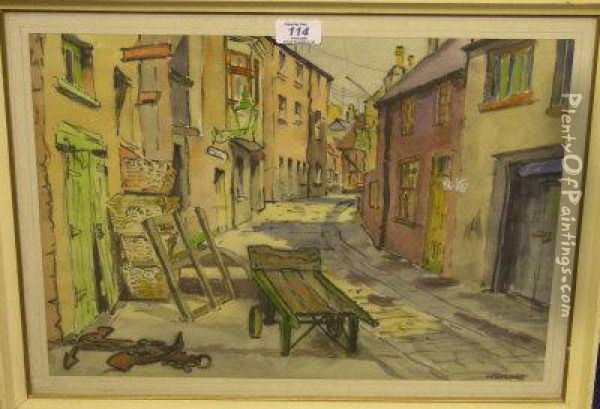 Quayside Street Scene Oil Painting - George Balmer