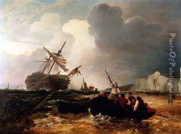 Rowing Boat Going to the Aid of a Man-o'-War in a Storm Oil Painting - George Chambers