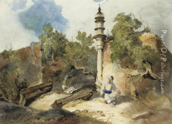 A Bengal Landscape With The Ruins Of A Mosque Oil Painting - George Chinnery