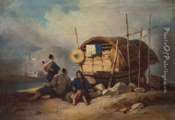 A Chinese Family With Their Sampan On The Banks Of The Pearl River Oil Painting - George Chinnery