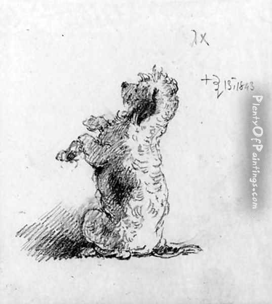 A poodle begging a study for On Dent's verandah Oil Painting - George Chinnery