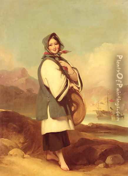 Portrait of a Eurasian girl against a Chinese River Landscape Oil Painting - George Chinnery