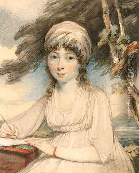 Portrait of a young lady, three-quarter-length in a white turban, wearing a white dress holding a pen in her right hand, seated in a wooded landscape Oil Painting - George Chinnery
