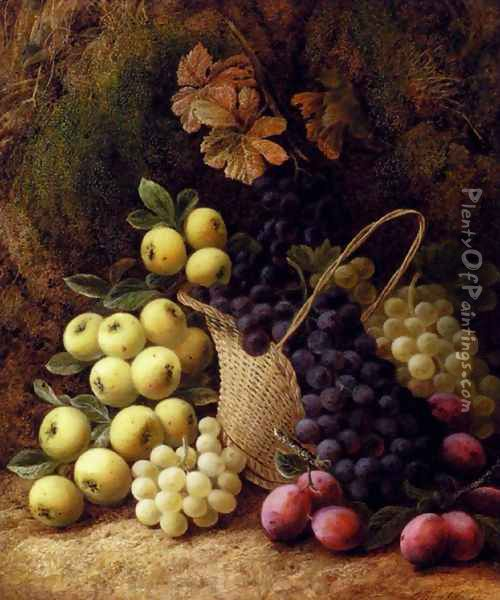 Still Life with Apples, Grapes and Plums Oil Painting - George Clare