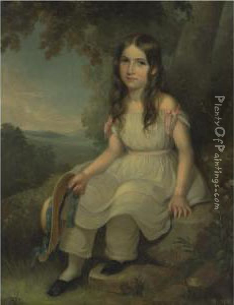 Seated Girl Holding A Hat Oil Painting - George Cochran Lambdin