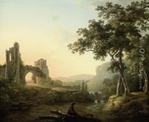 A Wooded River Landscape With A Man And His Dog By A Waterfall,ruins Beyond Oil Painting - George Cuitt