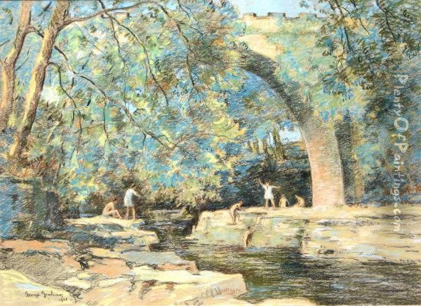 Young Children Bathing In A River In A Continental Wooded Landscape Oil Painting - George Graham