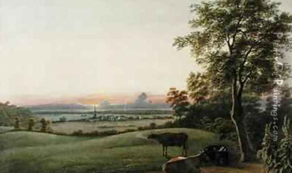 Sunrise Flatbush and the Ocean from the Greenwood Cemetery Long Island New York Oil Painting - George Harvey