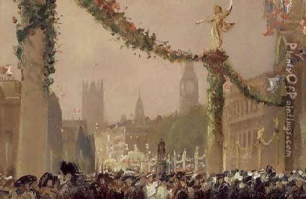 Decorations in Whitehall for the Coronation of King George V, 1910 Oil Painting - George Hyde Pownall
