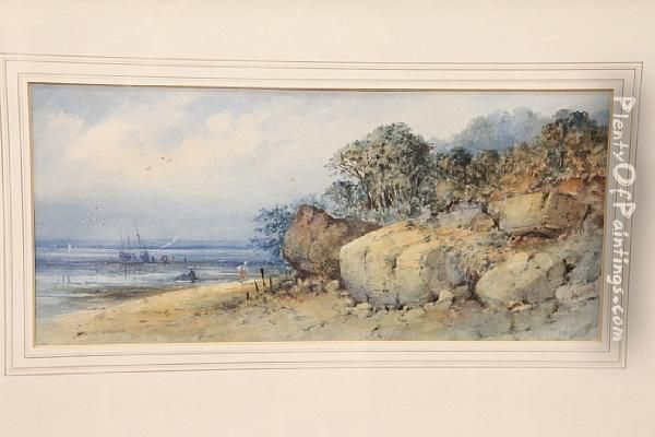 Figures On A Shoreline Oil Painting - George Knox