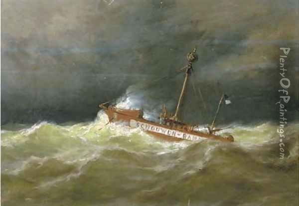 The Schouwen Bank light vessel at sea Oil Painting - George Laurens Kiers