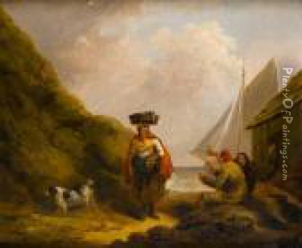 A Fisherwoman On The Shore, Men Drinkingbefore A Hut Oil Painting - George Morland