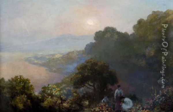 View Of Killiney From Lennox Robinson's House Oil Painting - George Russell Dartnell
