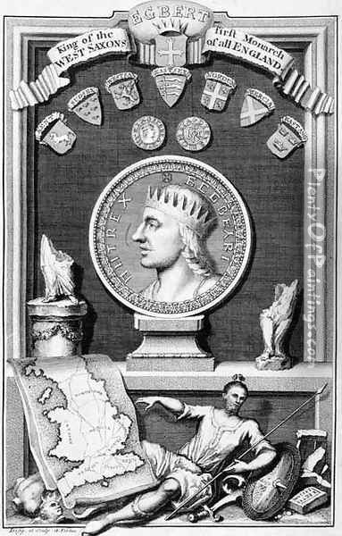 Egbert d.839 King of the West Saxons, First Monarch of all England, engraved by the artist Oil Painting - George Vertue
